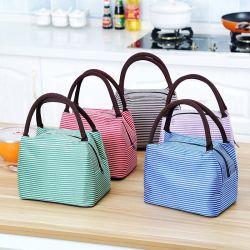 Простой холст полосатый Bento Bag Hand-Hold Загустеет короткого замыкания из алюминиевой фольги ланч-бокс охладителя мешок льда Bag сумка охладителя