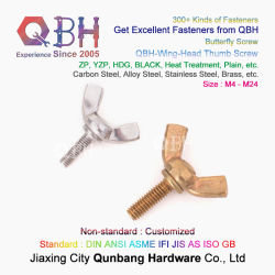 OEM ODM Qbh Latina rosca completa tipo de acero inoxidable al carbono cobre Latón Wing-Head Mariposa ala cabeza pulgar tornillo tornillos Precio