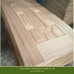 Chapa de madera de teca natural ante el Panel de puerta de la piel de la puerta de moldeado de HDF