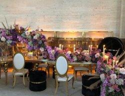 Het Dineren van de Pastelkleur van de Stoelen en van de Lijsten van het hotel de Luxe van Stoelen om de Achter Gouden Stoel van de Gebeurtenis van het Frame