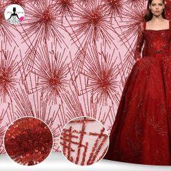 Broderie de maillage Silk-Stocking rouge robe de mariée tissu Custom-Made Sequin
