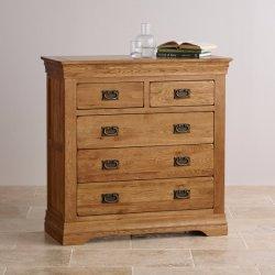 Vintage Chêne rustique en bois massif 2+3 Poitrine de tiroir