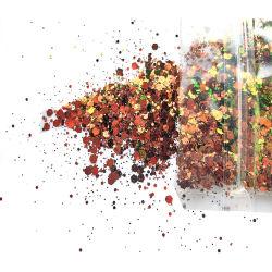 1mm, 2mm, 3mm de tamaño y color de mezcla de diferente color mezclado Glitter hojuelas