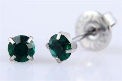 Acero inoxidable 316 L de espárrago en el oído de cristal de Tiffany pendientes de esmeralda