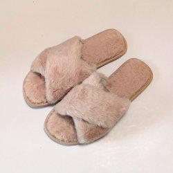 Леди Креста ремешок фо мех женщин тапочки зимой плоские Sweet Home этаж тапочки женщина для использования внутри помещений мех теплых мягких пробуксовки колес на ползунок обувь