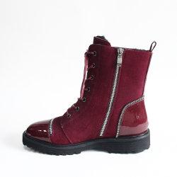 Frauen-Schuh-Schnee lädt flache Ferse-Dame-Winter-Form-Kurzschluss-Aufladung außerhalb der Schuhe mit Reißverschluss auf