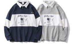 Azul oscuro de manga larga y completa de los hombres de Polo de algodón camisetas estilo