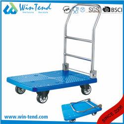 Синий цвет для тяжелого режима работы складной пластиковые складные передвижной платформы тележки