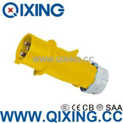 Connettore femmina industriale 2p+e impermeabile giallo AC 110-130V 63 AMP