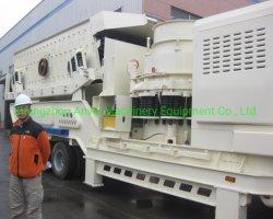 Mobile concasseur à cônes concasseur de pierre portable pour le minerai de fer de concassage et usine de traitement