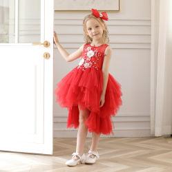 Nuevo 2019 Primavera Verano rojo parte niños de la Prom vestido sin mangas para niños chica