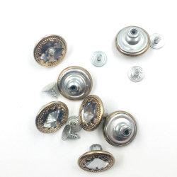 중국 제조업체 사용자 지정 로고 Brass Gold Denim Button Fly 청바지 여성용