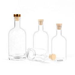 Cristal de forma personalizada Vinho de gelo em branco fosco garrafa de vidro cristal de licor de Whisky Gin Garrafa com tampas de alumínio