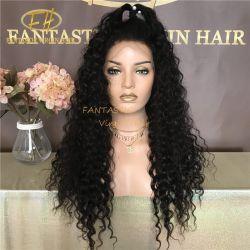 도매 자연적인 까만 색깔 브라질 인도 Virgin 또는 Remy 사람의 모발 깊은 꼬부라진을%s 가진 HD 가득 차있는 정면 레이스 가발