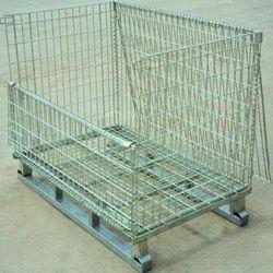 Plegado y la jaula de almacenamiento apilable/contenedor de malla de alambre galvanizado /Paleta Bandeja /