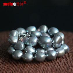 Grande collana d'acqua dolce barrocco grigia all'ingrosso della perla (E130129)