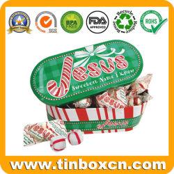 Forma oval de Natal doce Caixa de estanho para embalar Candy dons