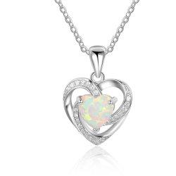 Monili Pendant opalini della collana del cuore di amore per i monili sterlina d'argento di modo delle donne 925