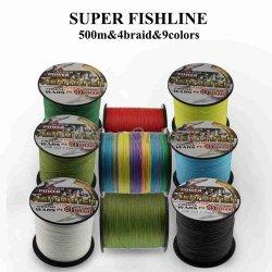 4つの繊維は500メートルPEの編みこみのワイヤー採取ライン6-120lbの釣り道具をスプール詰める