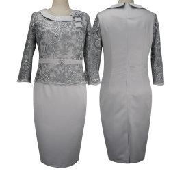 Dame-Büro-Kleid plus Größen-Spitze-gerade Fußleisten-Mutter der Braut-Kleider befestigte weg von den beiläufigen Kleidern