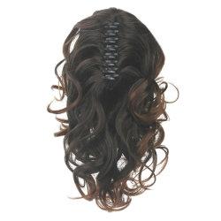 Curly Poils Synthétiques clip dans l'extension de cheveux Brown ma petite griffe de queue de poney de queue de cheval de faux frais généraux d'un sèche cheveux de chevaux Paard