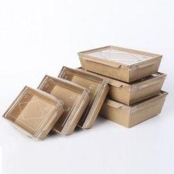 처분할 수 있는 식사 Kraft 종이 음식 납품 상자를 나르십시오