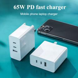 Carregador de parede 65W adaptador de alimentação AC/DC GaN função Pd Tipo C Telefone celular de carregamento de viagem porta USB do laptop Quick Carregador Rápido