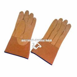 Guanto di saldatura di rinforzo cuoio molle di punta del pollice della pelle di cinghiale con la parte posteriore cucita