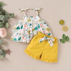 여름엔 쿠스코스 하이퀄리티 100% 코튼 톱, 바닥패션입니다 유아용 걸즈 어린이 쿨 복장에 인쇄된 패턴 설정 옷