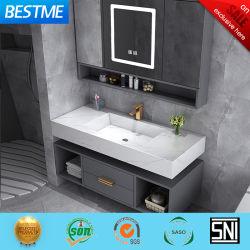 Foshan Fatctoy OEM ODM LED Smart Mirror pedra de inserção personalizada Armário de Casa de Banho Vanity com lavatório (BY-X8005)