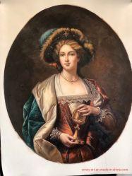 Ручная работа классической г-жа рисунок картины маслом на овал Canvas