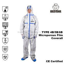 Certificación CE desechables tipo Cat III 4/5/6 En14126 de costura de la cinta de película microporosa sobretodo