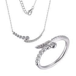 925 Sterling Silver Noël bague collier de ligne de bijoux Set
