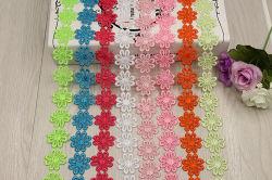 Großhandelsqualitäts-bunte Gänseblümchen-Sonnenblume-wasserlösliche Stickerei-Spitze für Dekoration
