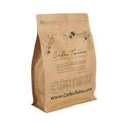 De de vlakke Koffie van het Document van Kraftpapier van de Bodem/Voedsel/Thee/Zak van de Verpakking van brood met Ritssluiting