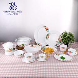 مجموعة عشاء الزجاج الأوبال 58PCS مجموعة أدوات مائدة مسطحة الزجاج الأبيض لوح عشاء زجاجي أسود لوح جانبي لوح جالسة بلوح مجرة مجموعة من صلصة الشاي والقهوة