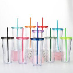 24oz acrylique tasses gobelets en plastique transparent à double paroi tasse avec couvercles et les pailles