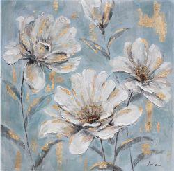 Golden Botanical Blossoms Canvas Wall Art modern Handmade Oil Painting