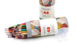 Matita di plastica della cancelleria 7 di pollice 48 del barilotto all'ingrosso di colori, matita dissipante con stampa di marchio