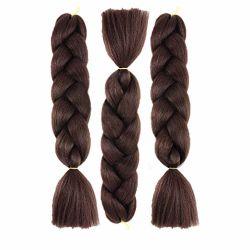Usine chinoise Kinky droites Extension de cheveux synthétiques brun rouge tresses