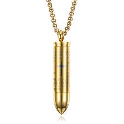 Мужчин подвесной ожерелье из нержавеющей стали цепочка Bullet образный подвесной позолоченные украшения
