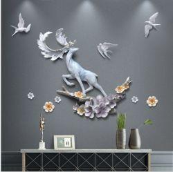Espejo redondo y ciervos de Arte Moderno de pared para la decoración del hogar