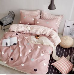 100% Baumwolle Stoff Herz gedruckt ab Seite Liebe für Bettwäsche Bettbezug Set Bettlaken
