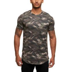 Irmãos muscular nova ronda de Verão Desportivo do colar T-shirt camuflagem Fitness homens a formação de suor mangas curtas fabricantes vendas directas