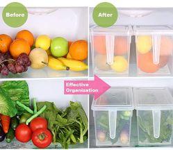 Recipiente de armazenamento de alimentos, Frigorífico Caso do organizador com bandeja de drenagem removível para manter fresco por produzir, frutas, legumes, carne e peixe