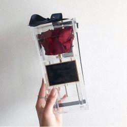 Kundenspezifische Acrylrosen-Blumen-verpackengeschenk-Kasten für einzelne Rose