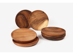 Bamboe serving, bamboe serveerblad, fruitschaal, theeblad, dienblad, Koekjesschotel, ronde houten dienblad, hout dienende traytray voor eten en drinken