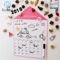 Calendario mensual personalizado de promoción de los imanes de nevera PVC