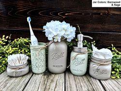 5 Pièce pot Mason de salle de bains avec distributeur de savon. Mason Jar le décor comprend la pompe de savon, coton-tige titulaire, titulaire de tissus, brosse à dents titulaire, et titulaire de la fleur.