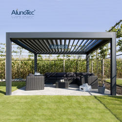 Zonnescherm buiten Gemotoriseerd Aluminium Louvered Bioclimaticas Pergola Patio cover Aluminium Garden Gazebo